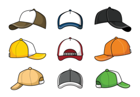 Trucker Hat Icons Vector
