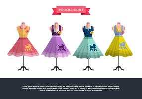 Retro Poodle Skirt Vector Set