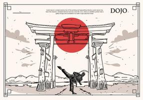 Japonés, histórico, edificio, dojo, mano, dibujado, vector