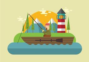 Visserij Op Het Meer Vector