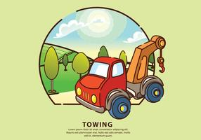 Towing City Mechanic Service Vector Illustration