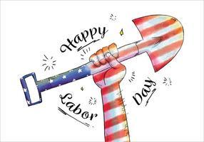 Orgulhoso, aguarela, mão, segurando, pá, americano, bandeira, trabalhando, Dia, vetorial