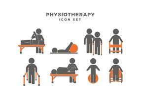Physiotherapie Icon Set Freier Vektor