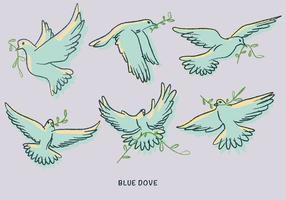 White Blue Dove Paloma Doodle Illustration Vector