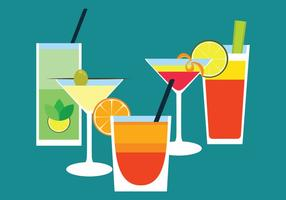 Cocktail Drinks Flat Vector