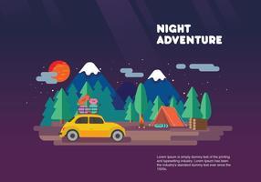 Nacht Avontuur Carpool Vakantie Vector Vlakke Illustratie