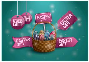 Vector d'étiquette cadeau de Pâques gratuit