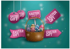 Vector libre de la etiqueta del regalo de Pascua
