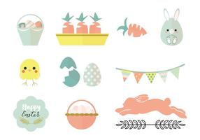 Pack Pastel Easter Vector