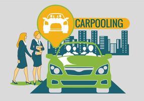Carpooling en el vector de fondo de la ciudad