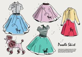 Hand Drawn Poodle Skirt Sketch Vector Illustration