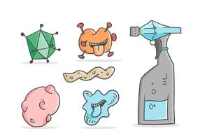 Free Cute Mold and Cleaning Spray Vectors