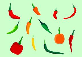 Chili Peppers Vector Set