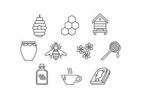 Beekeeping Icons Vector