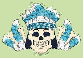 Cute Skull With Feathers Hat Tribal Style