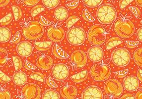 Seamless hand drawn yellow clementine vector pattern