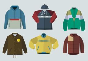 Color Windbreaker Jacket Flat Vector Illustration