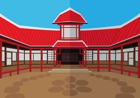 The outside dojo temple vector