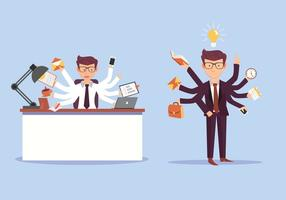Multitasking Business Man Vector Illustration