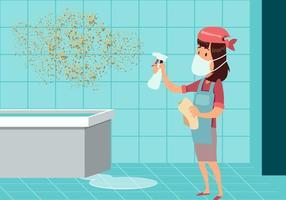 Mujer, limpieza, molde, vector