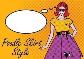 Chica de los años 50 con el vector de la falda del caniche