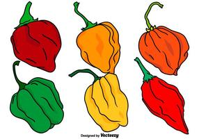 Vector Set Of Habanero Peppers