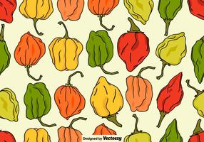 Vector Seamless Habanero Peppers Pattern