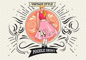 Woman Pose with Poodle Skirt Costume vector