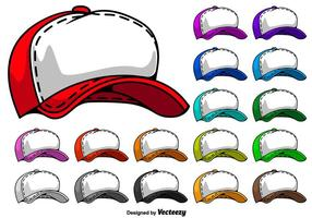 Trucker Hat Cartoon Icons - Vector
