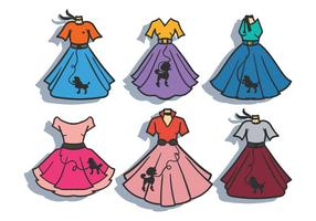 Poodle skirt vector set