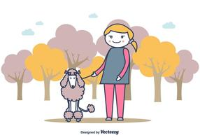 Fille et un fond d'illustration de caniche