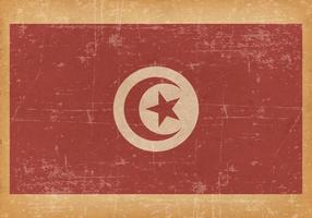 Old Grunge Flag of Tunisia vector