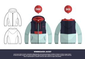 Windbreaker Jacket Front And Back Views Vector Illustration