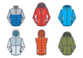 Mockups vetoriais de casacos ao ar livre