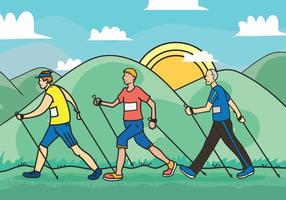 Nordic walking ilustración vectorial
