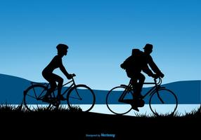 Silhouette, conception, couple, équitation, bicyclettes