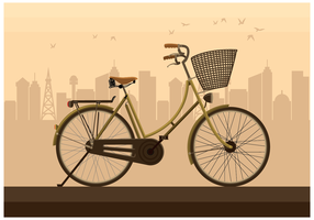 Old-bicycle-in-the-city-vector