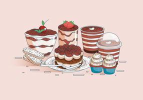 Desserts vectoriels au chocolat Tiramisu