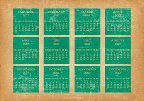 Viejo calendario de escritorio del estilo 2017 del Grunge