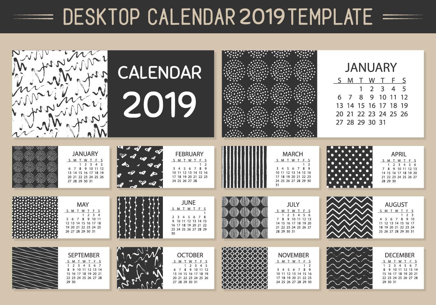 Calendario 2019 Illustrator.Monthly Desktop Calendar 2019 Vector Template Download