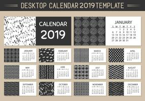Monthly Desktop Calendar 2019 Vector Template