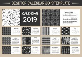 Modello di calendario mensile desktop 2019 vettoriale