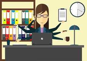 Multi Tasking Woman Illustration Gratis Vektor