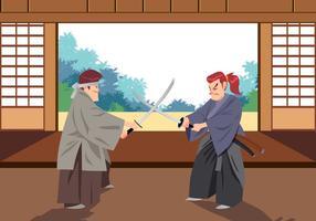 Samurai Dojo Vector Escena