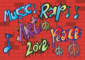 Grafiti paz e amor vetor
