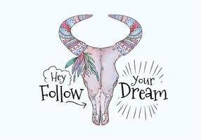 Boho Lila Cow Skull With Painting And Motivational Quote