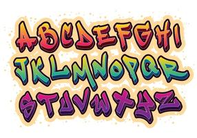 Grafiti Fuente Alfabeto Vector