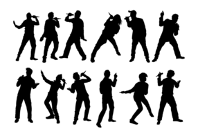 Personas siluetas de canto vector