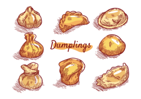 Dumplings Iconos Vector