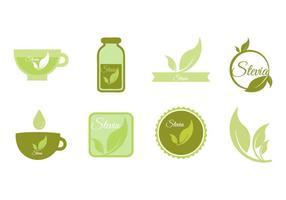 Libre Stevia iconos y insignia Vector